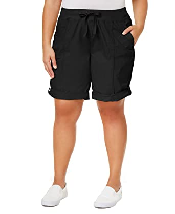 0a6cb113bbd Calvin Klein Performance Womens Plus Ribbed Drawstring Cargo Shorts Black 2X