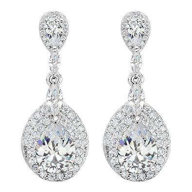 TENYE Women's Austrian Crystal Wedding Elegant 2 Teardrop Pierced Dangle Earrings x4TwXXp