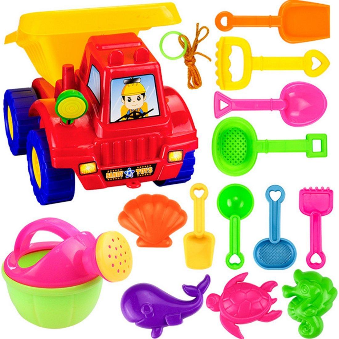 Tosbess 14 Pcs Giochi Spiaggia con Camion pala etc. Set Giochi Mare Spiaggia per Bambini Secchiello Formine Sabbia con barile