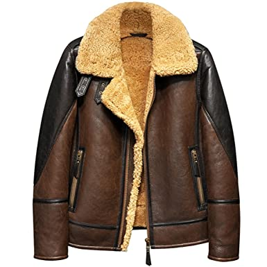 302656cbb Men's Shearling Leather Jacket Light Brown B3 Jacket Men's Fur Coat  Aviation Original Flying Jacket