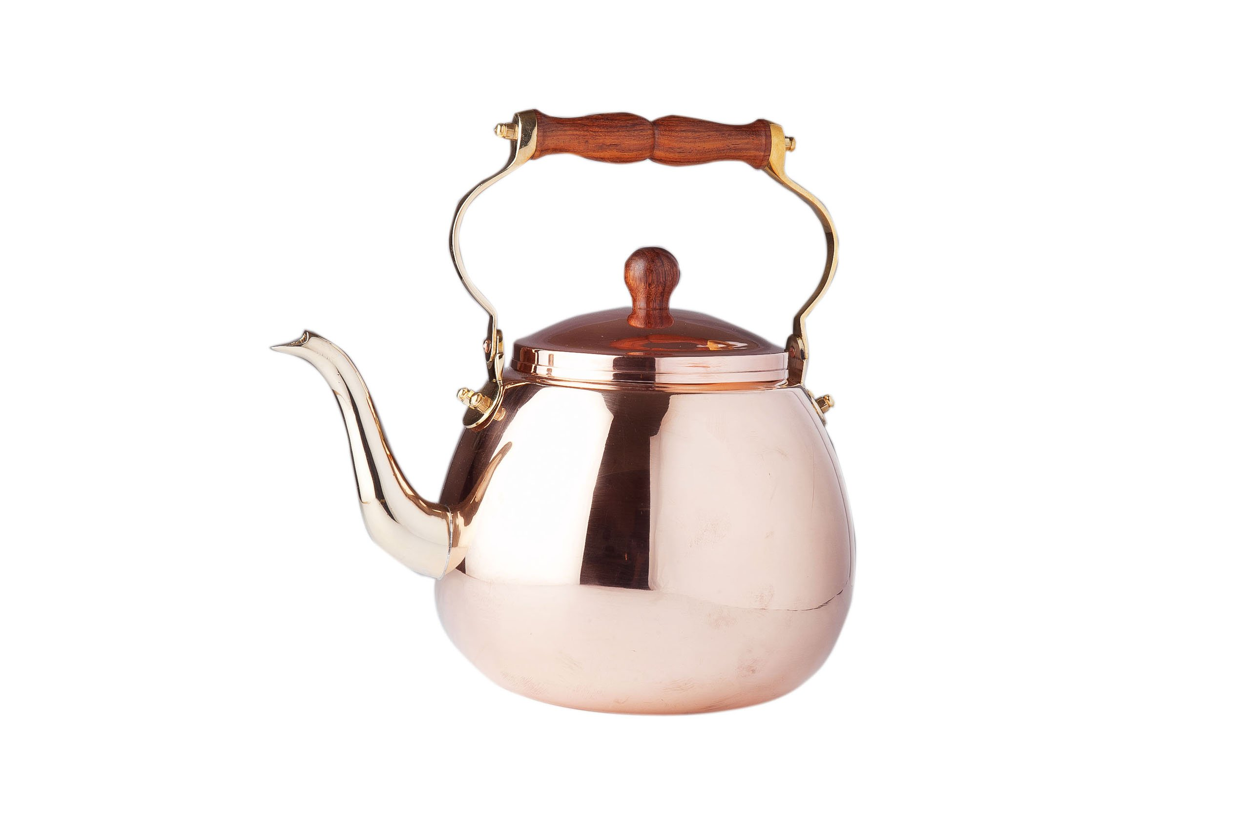 Old Dutch Solid Tea Kettle with Wood Handle, 4-Quart, Copper