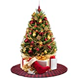 edldecco small version in 36 inch plaid christmas tree skirt with red and black buffalo check - Decorative Christmas Tree Stands