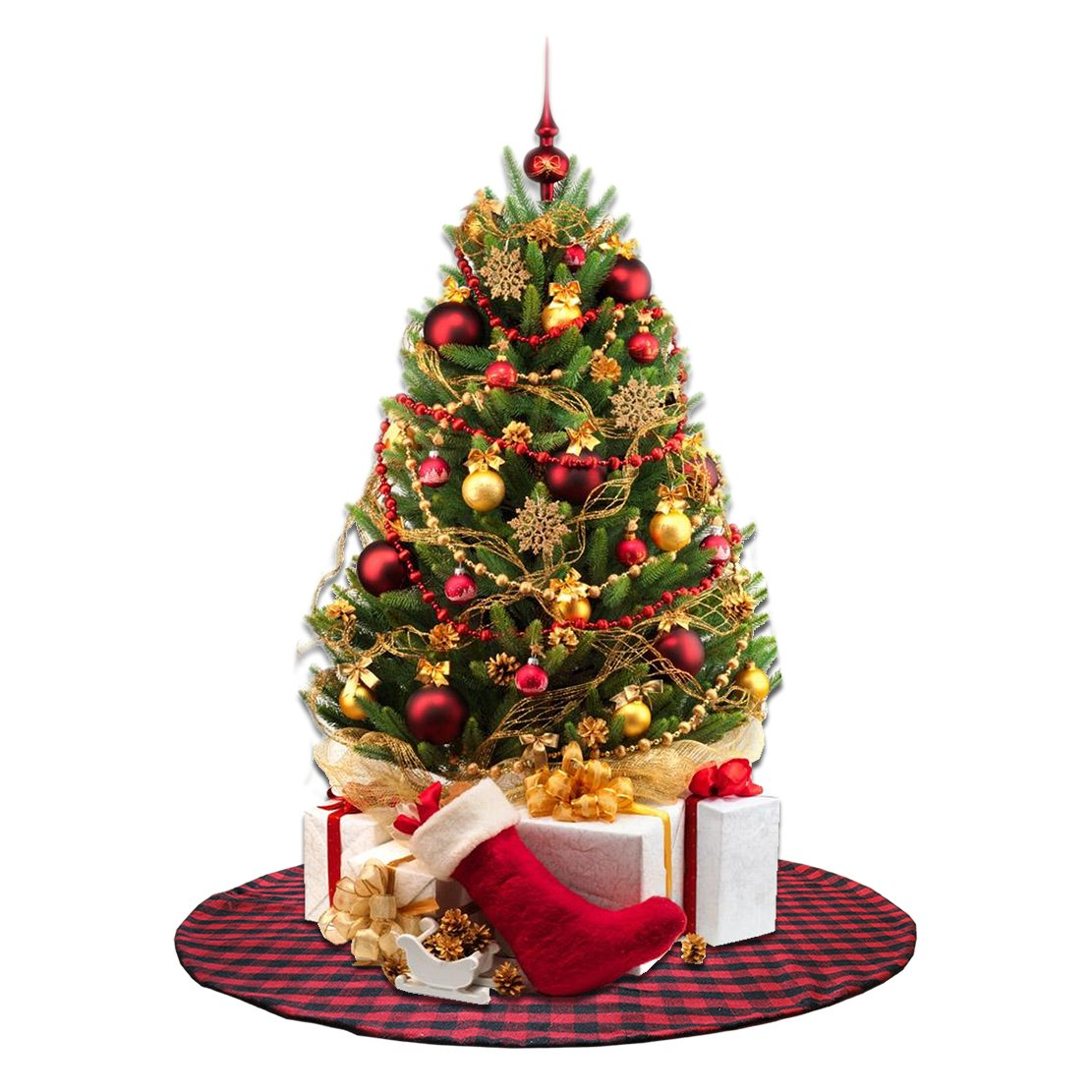 EDLDECCO 36 inch Plaid Christmas Tree Skirt with Red and Black Buffalo Check Tree Skirt Double layers a Fine Decorative Handicraft for Holiday Party