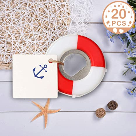 Partytalk 20pcs Nautical Wedding Favors For Guests Lifesaver Bottle Opener With Anchor Tags Beach Wedding Nautical Party Favors For Baby Shower