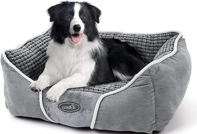 Cuccia per cani e gatti con cuscino peluche ultra-morbida lavabile in lavatrice (l) PB-RT02L Pecute