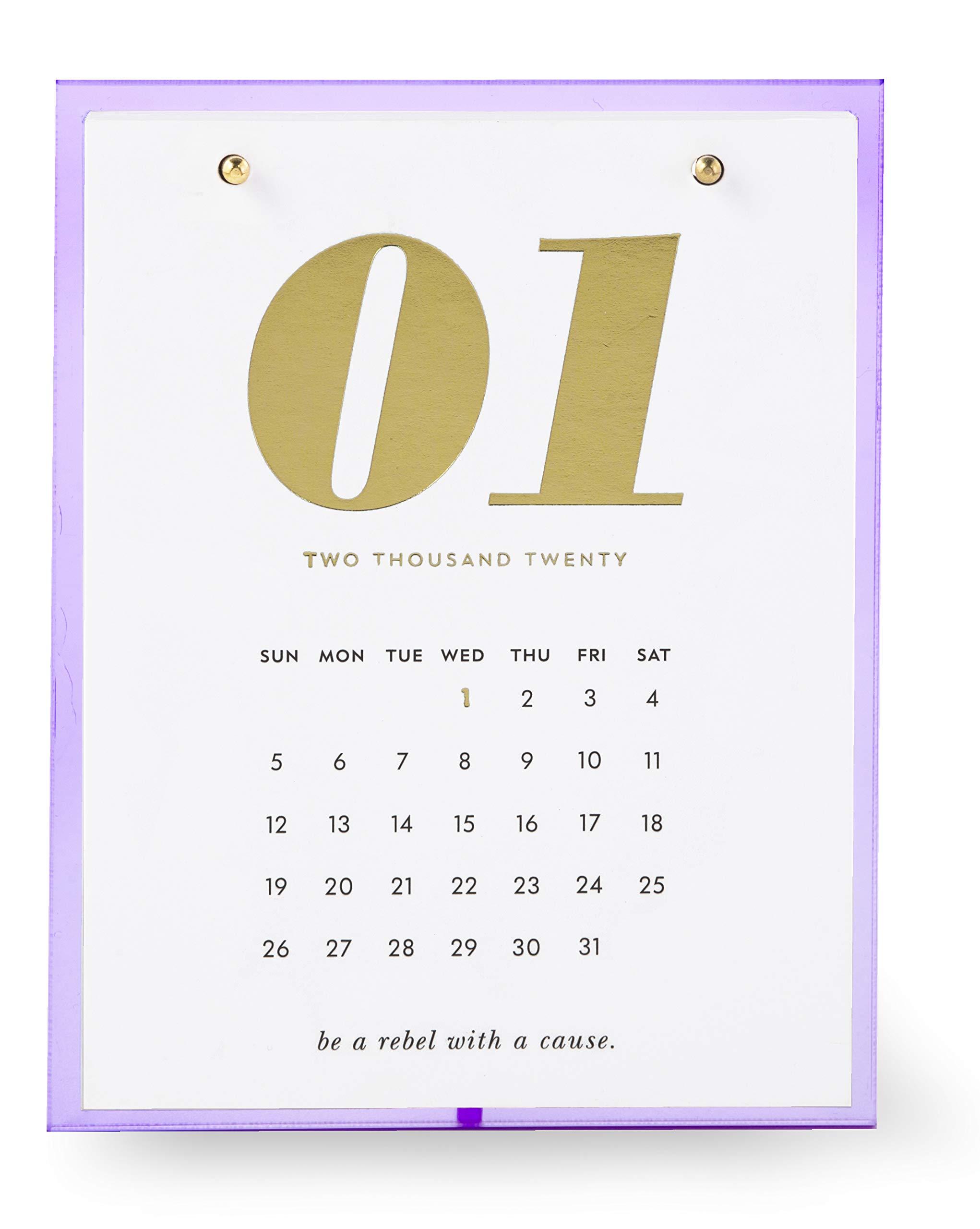 Kate Spade New York 12 Month Desktop Calendar, Dated January 2020 - December 2020, Lilac by Kate Spade New York