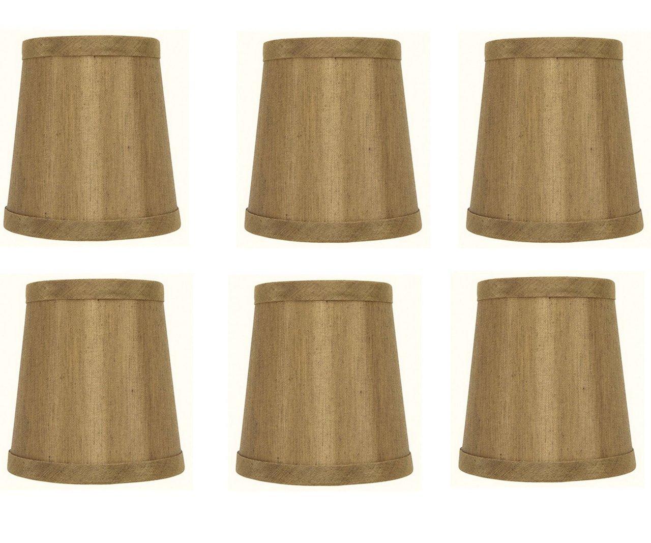 Upgradelights Bronze Barrel Drum 4 Inch Clip On Chandelier Shades (Set of 6) 3x4x4