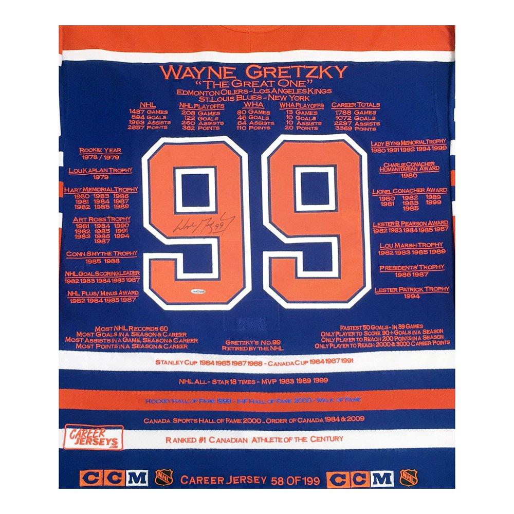 f572736c6d4 ... best price wayne gretzky career jersey signed ltd ed 99 edmonton oilers  wga uda amazon sports