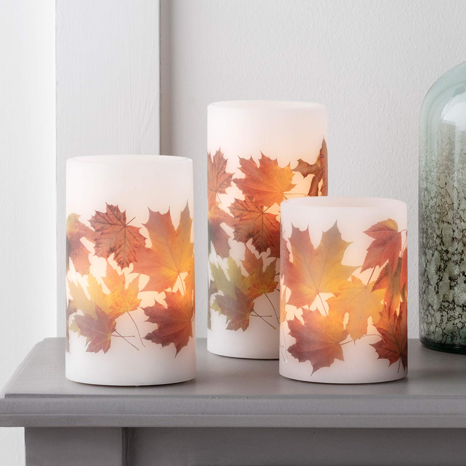 Lights4fun, Inc. Set of 3 Fall Leaf Wax Battery Operated Flameless LED Thanksgiving Pillar Candles with Remote Control by Lights4fun, Inc.