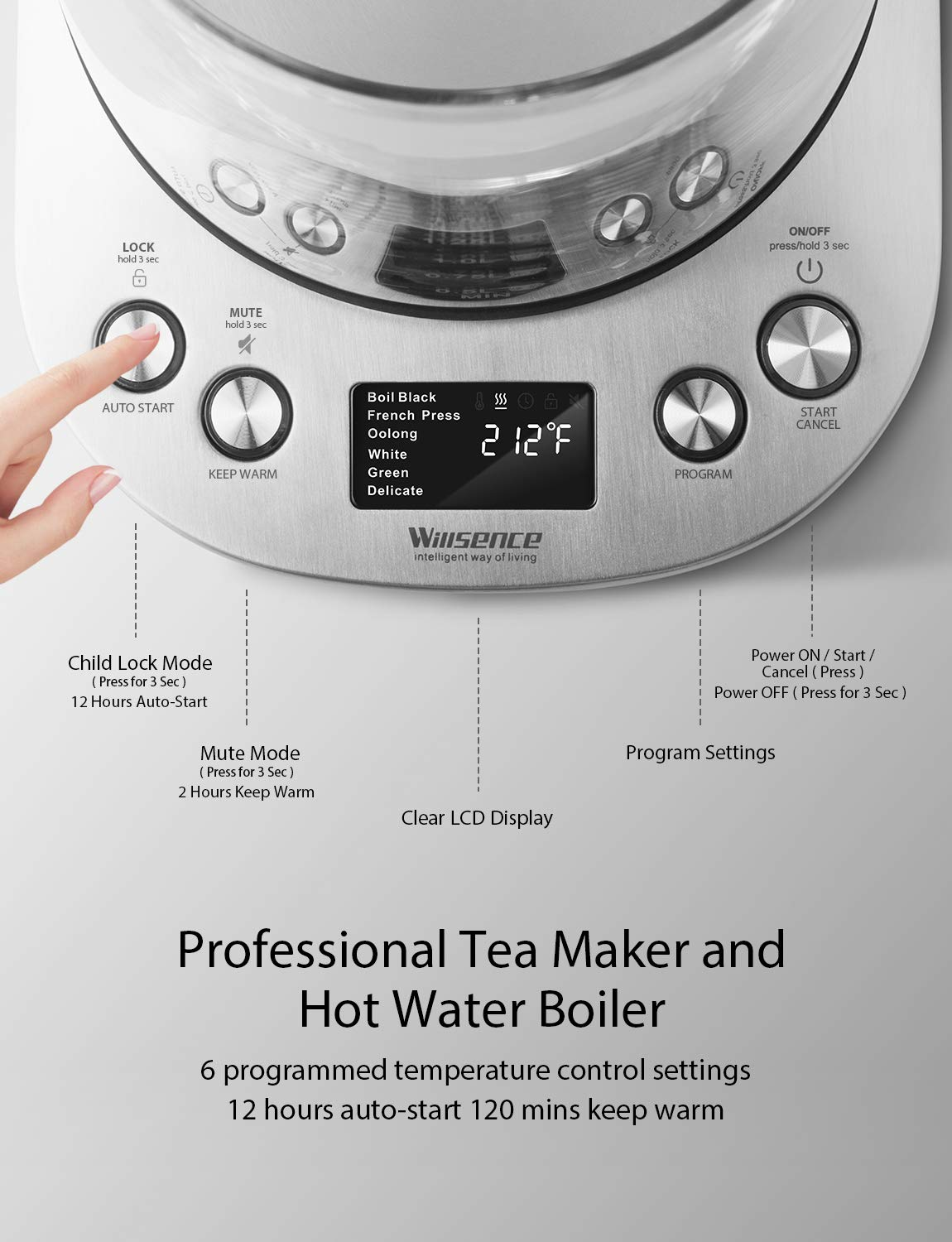 Willsence Electric Kettle, Electric Tea Kettle Stainless Steel Glass Boiler Hot Water Tea Heater with Temperature Control LCD Display, Removable Tea Infuser, 1.7 L, 1200W by Willsence (Image #3)