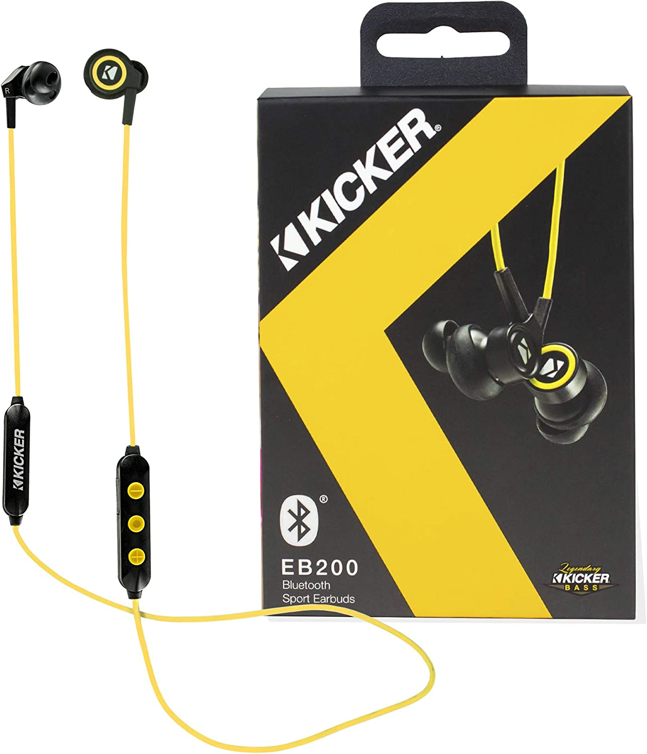 Kicker Bluetooth Wireless Earbuds Noise Canceling Headphones Earbuds w Built-in Mic with Multi Function Button Volume Control Sweat and Water Resistant