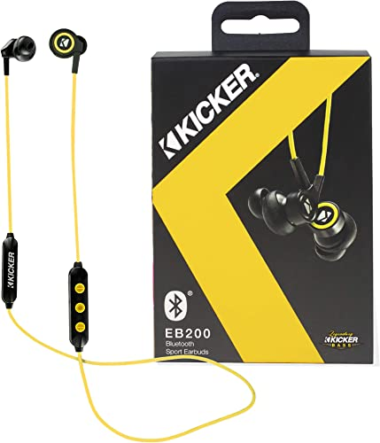 Kicker Bluetooth Wireless Earbuds Passive Noise Reducing Headphones Earbuds w Built-in Mic with Multi Function Button Volume Control Sweat and Water Resistant