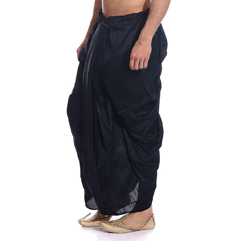 Royal Kurta Men's Art Silk Fine Quality Ready To Wear Dhoti Pants Free Size Black by Royal Kurta (Image #3)