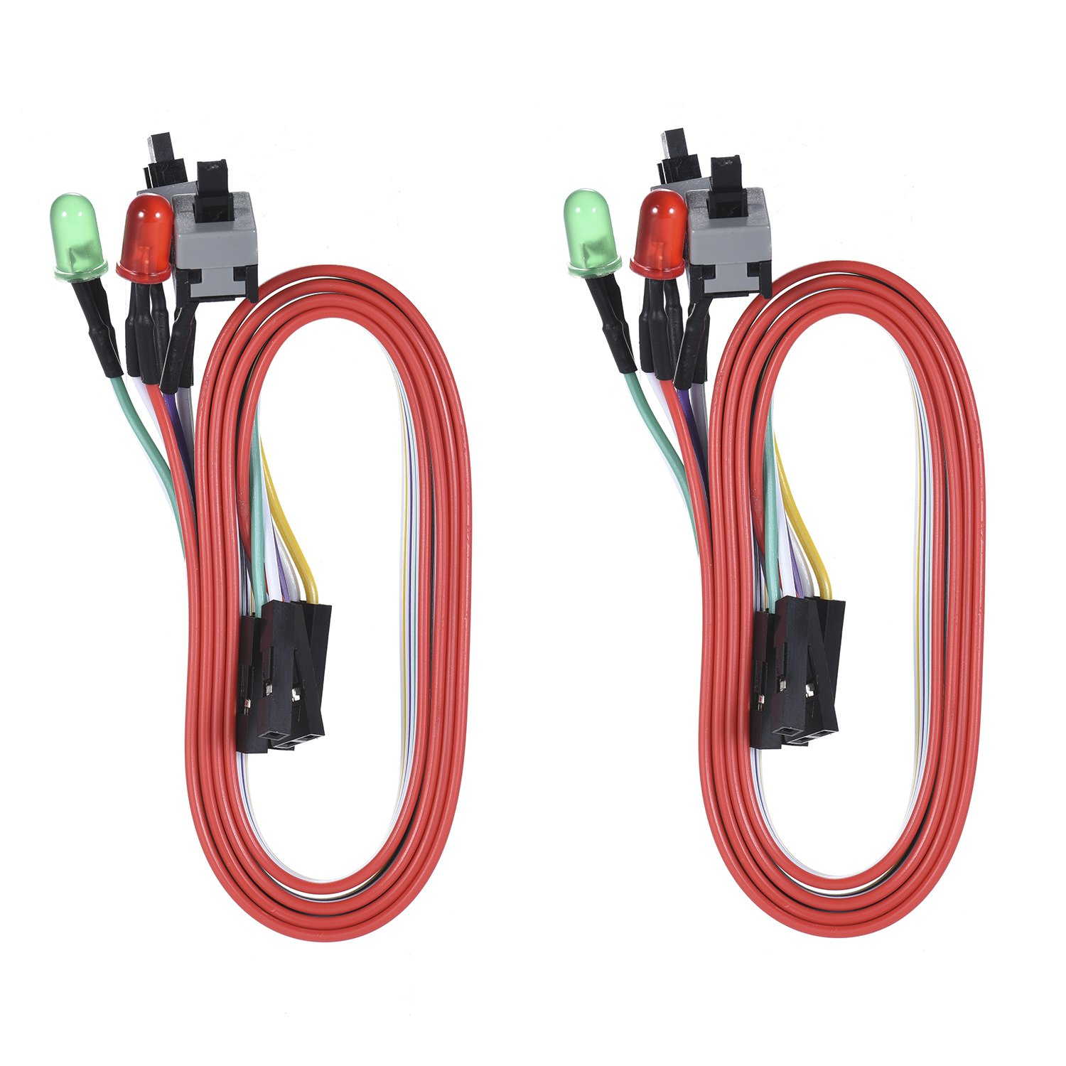 Warmstor 2-Pack Computer Case LED Light Red Green ATX Power Supply Reset HDD Switch Cable 27-inch Long ATX Case Front Bezel Wire Kit by Warmstor (Image #2)