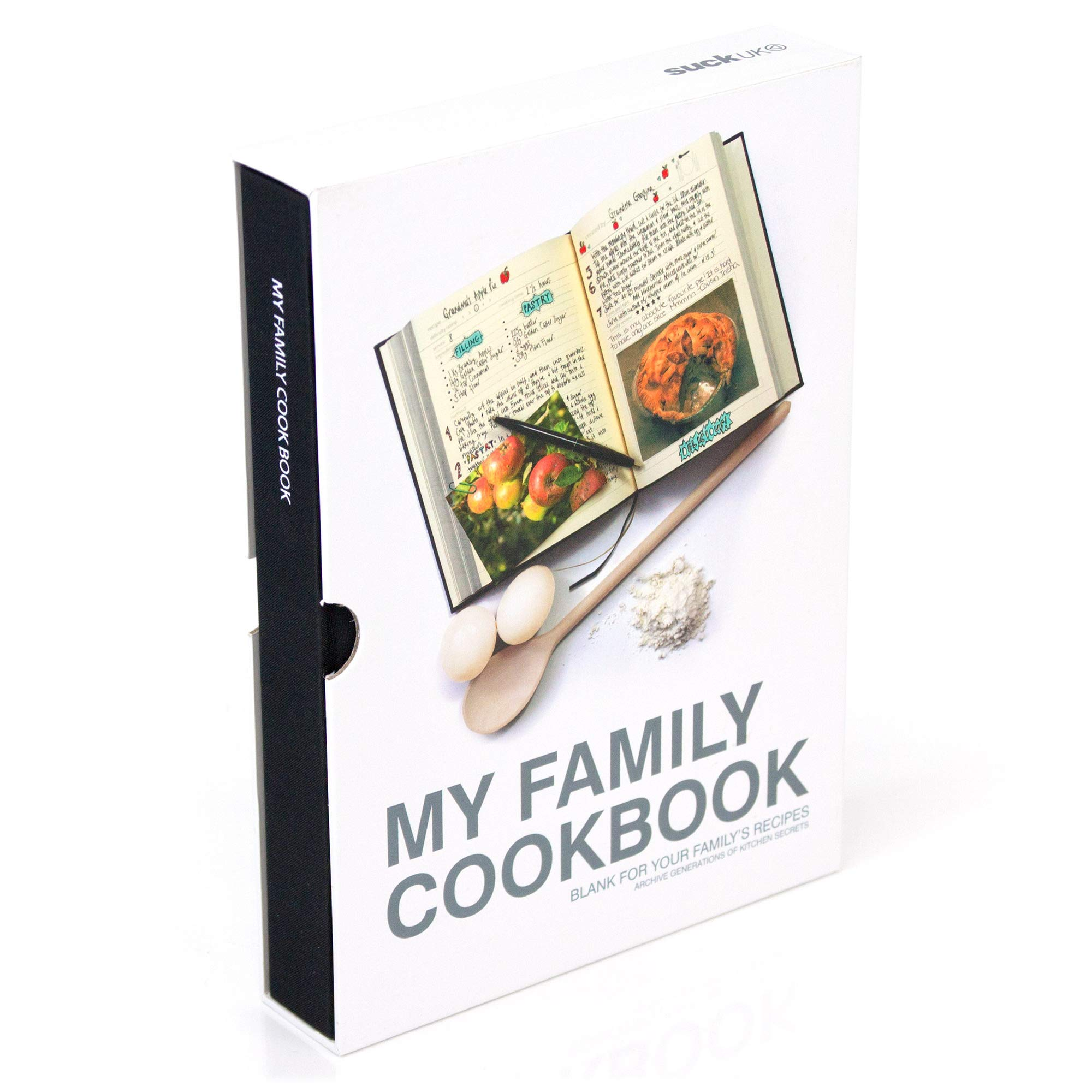 Suck Uk | My Family Cookbooks | Kitchen Binder | DIY Recipe Books | Food Journal | Healthy Diet & Cooking Diary | Red | Hard Backed Blank Journal Book | Custom Recipe