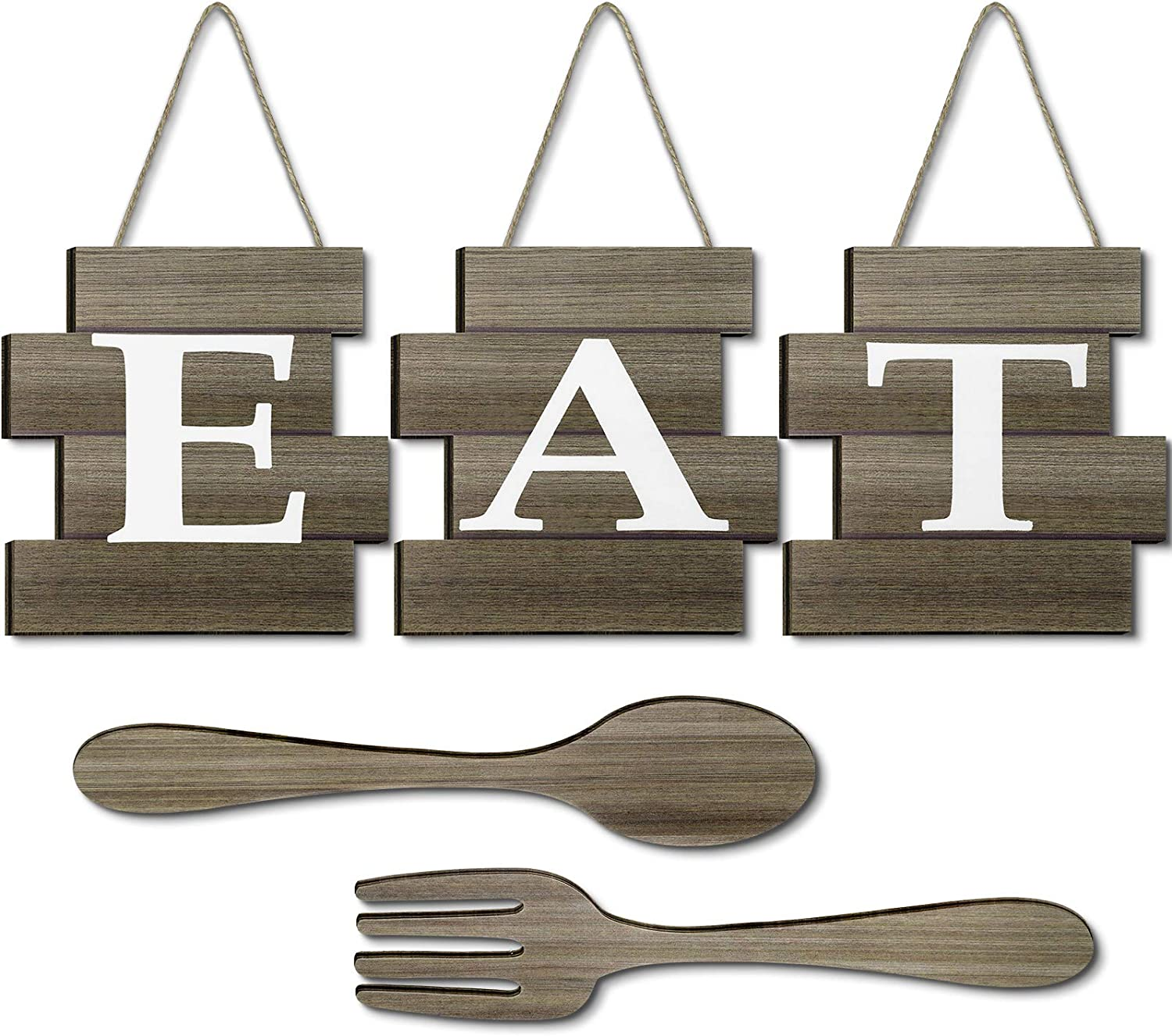 Yookeer Set of 5 Pieces Eat Sign Wall Decor, Rustic Farmhouse Spoon Fork Wooden Sign Decoration Country Wall Art Decorative Hanging Wooden Letters for Kitchen Home (Brown)