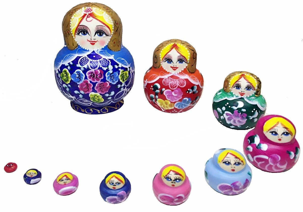 King&Light - 10pcs Peony Multicolor Russian Nesting Dolls Matryoshka Toys by K&L by LK (Image #4)