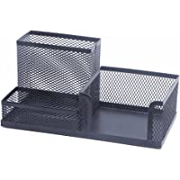 OZ_Mart Black Metal Wire Mesh Desk Organizer Office Organizer Supplies Pen Holder