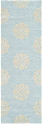 Safavieh Soho Collection SOH724A Handmade Turquoise and Yellow Premium Wool Runner 2 6 x 12