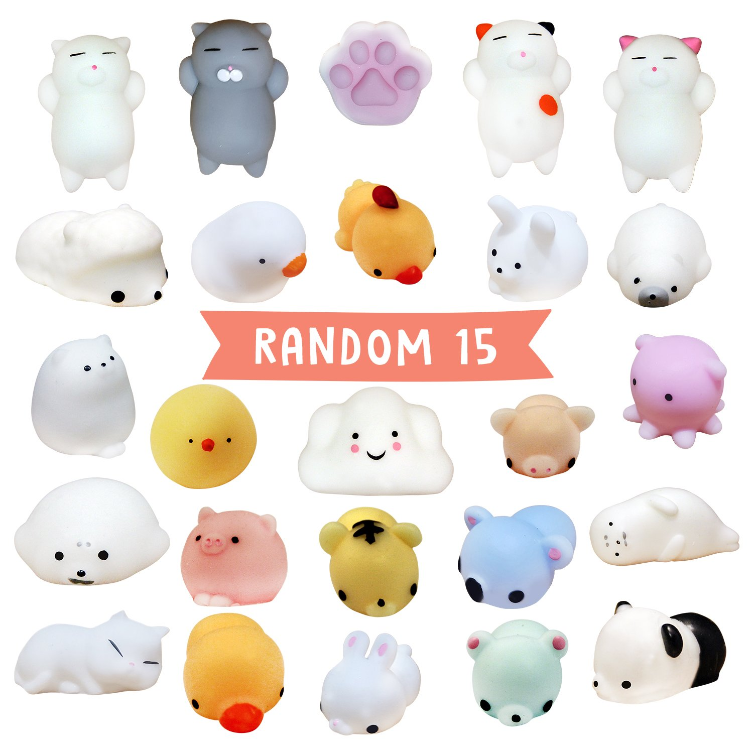 NEW: Squishies 15 pcs random pack [EXTRA Squishy] Super Cute Moshi Kawaii Animals: Seal, Panda, Kitty Cats and More All in One Cheap Package – Silly DIY fun toys for Girls and Boys