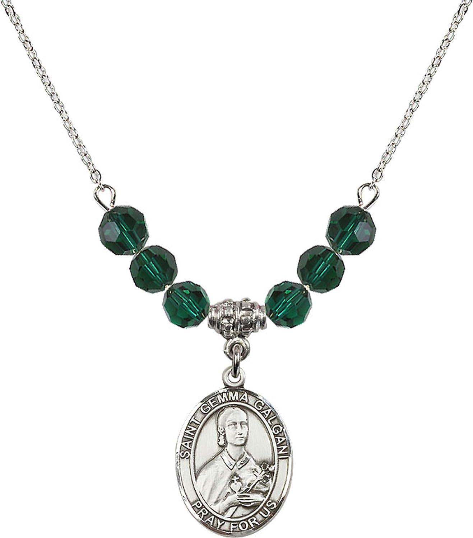 Bonyak Jewelry 18 Inch Rhodium Plated Necklace w// 6mm Green May Birth Month Stone Beads and Saint Gemma Galgani Charm