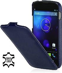 StilGut, UltraSlim, pochette exclusive de cuir véritable pour la Nexus 4 de Google/LG E960, en bleu