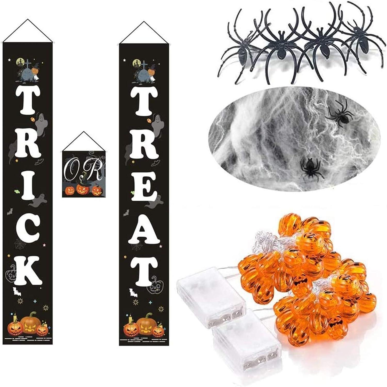 WTOR 3 Sets Halloween Decorations Trick or Treat Banner Door Spider Webs and Pumpkin String Lights for Durable Home Halloween Decor Outdoor Indoor Display