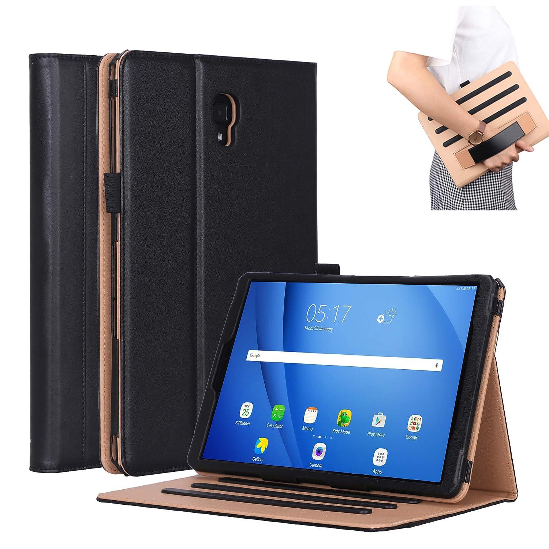 Galaxy Tab A2 10 .5 ケース、Stingna 多機能プレミアムレザーフォリオケーススタンドカバータブレット、ハンドホルダーカバー付き、Samsung Galaxy Tab A2 SM-T595 / SM-T590用 Samsung Galaxy Tab A2 SM-T595 / SM-T590 B07KMB276F ブラック