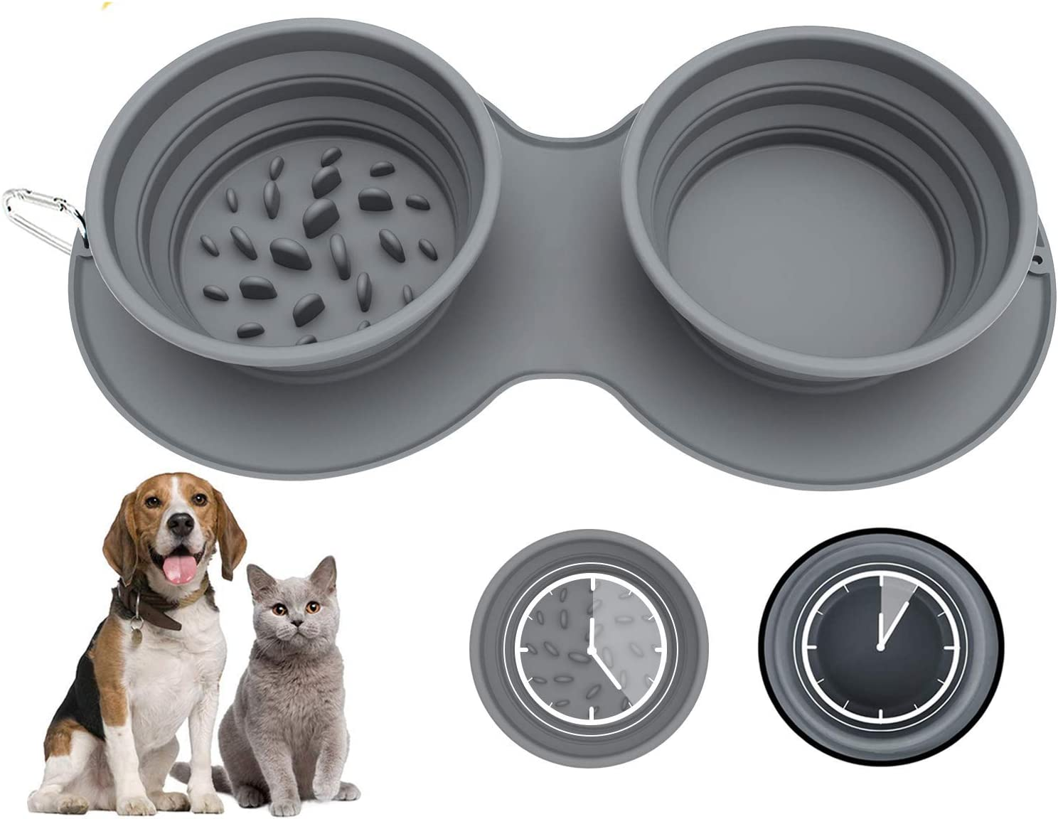 Aibada Double Collapsible Dog Bowl, Food Grade Silicone BPA Free Portable Dog Bowl, Foldable Cup Dish for Pet Cat Food Water Feeding Portable Travel Bowl (Grey)