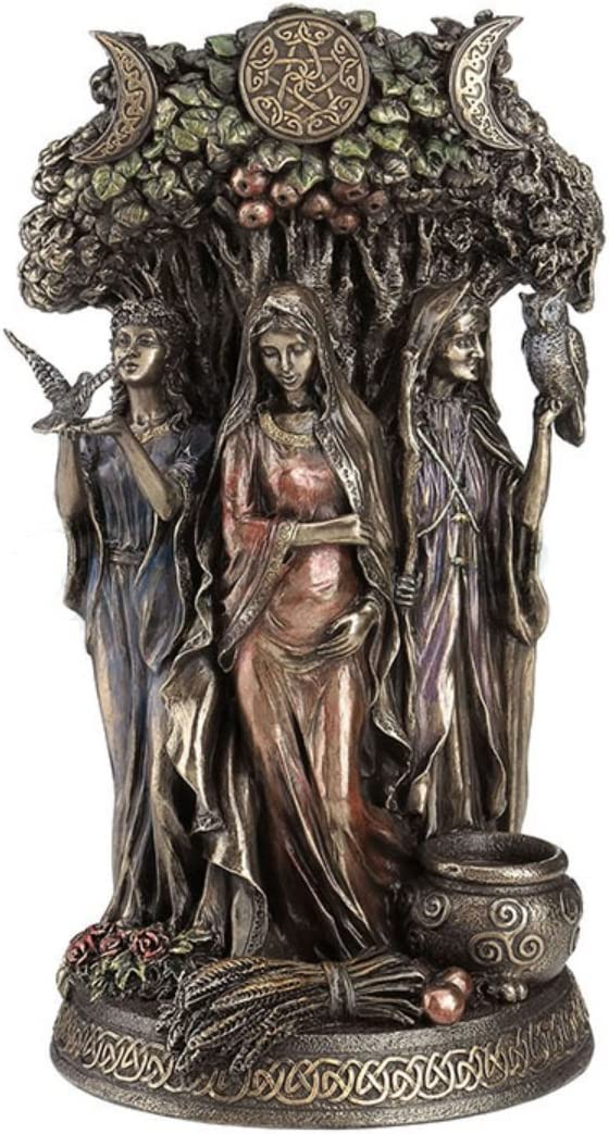 Danu Celtic Triple Goddess Statue Maiden Mother Crone Sculpture Pagan Figurine