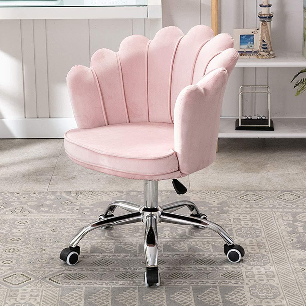 Sovrum skrivbordsstol svängbar kontorsstol lyft ryggstöd datorstol med hög motståndskraft svamp avtagbar och tvättbar kudde andningsbar elegant möbler, vit Rosa