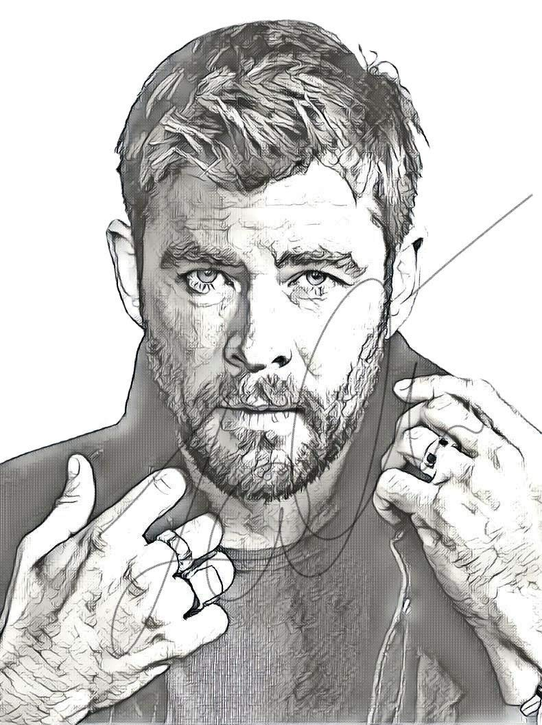 Amazon com chris hemsworth sketch drawing print poster hand drawn pencil actor hemsworth sketch1 handmade