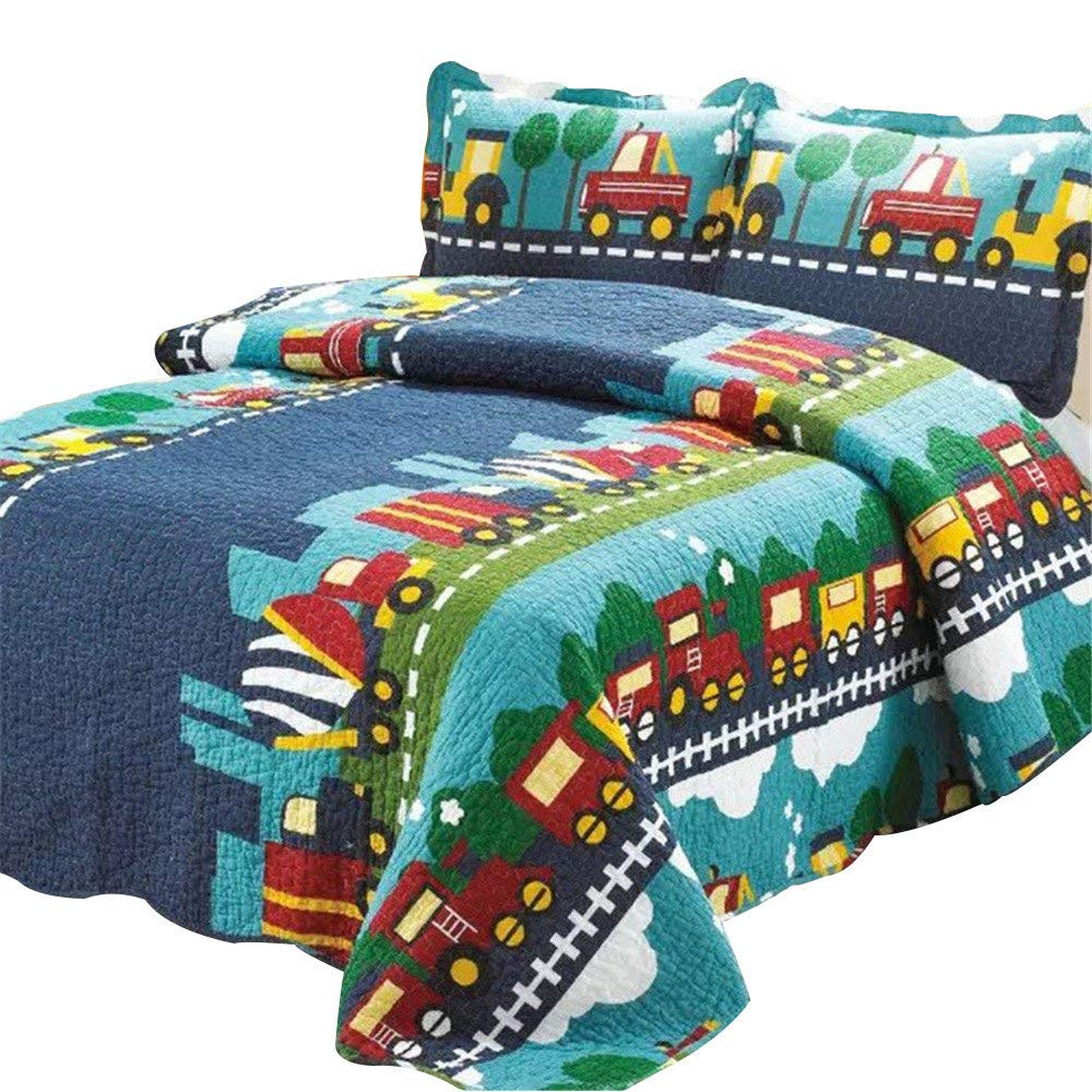 Abreeze 3pc 100% Cotton Plaid Quilt Comforter Children's Bedspread Set Train Patchwork Pattern Twin Size