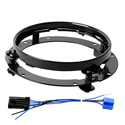 7inch Round Headlight Ring Mounting Bracket and 7 inch LED Headlight Wire  Harness Adapter for Harley Davidson Street Glide Road King Electra Glide