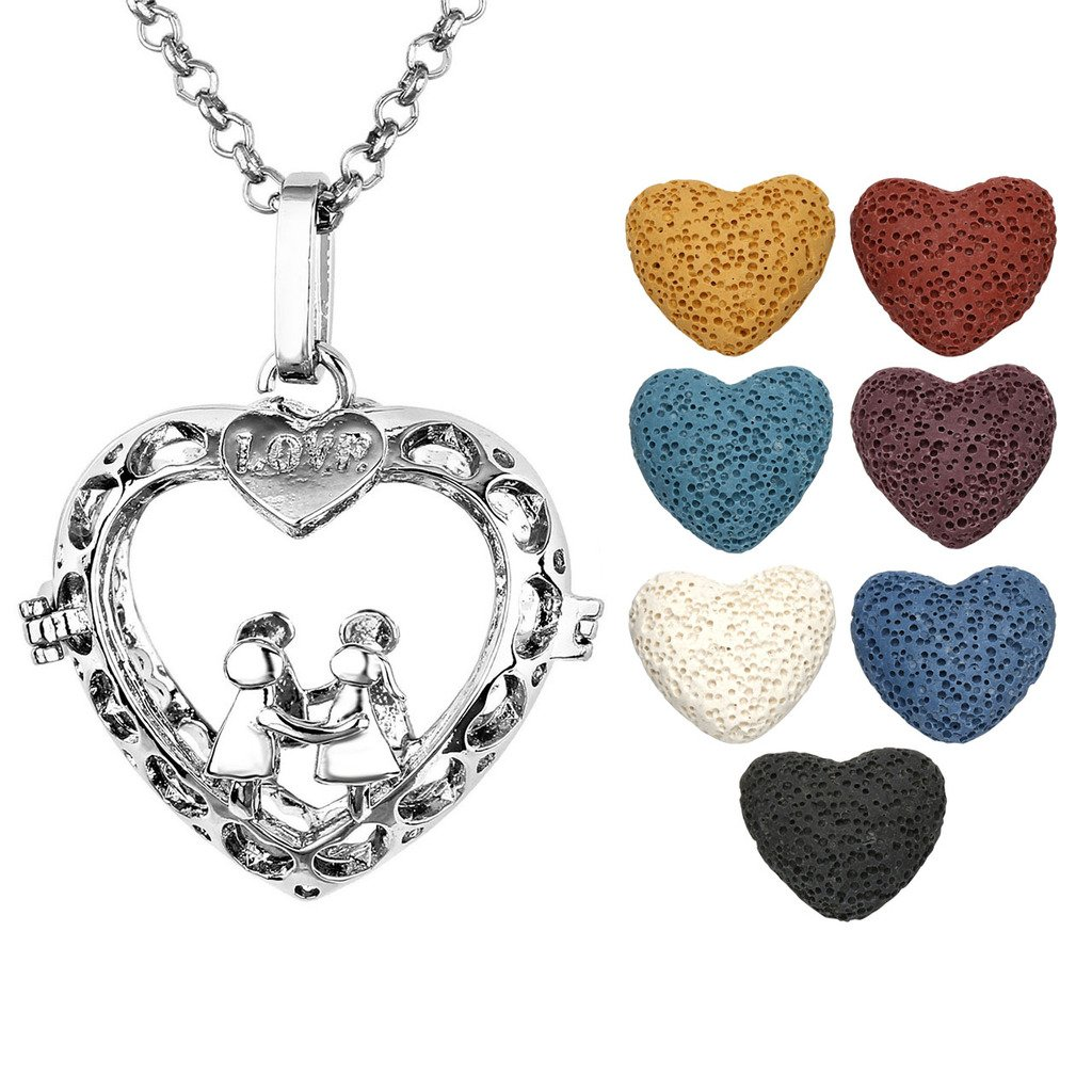 Jovivi Antique Silver Aromatherapy Essential Oil Diffuser Necklace Love Holds Hand Heart Locket Pendant 7 Dyed Multi-Colored Lava Stones
