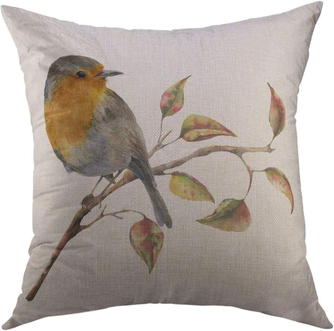 Mugod Throw Pillow Cover Watercolor Robin Sitting on Tree Branch Red Yellow Leaves Autumn Bird Fall White Nature Home Decor Pillow case 18x18 Inch