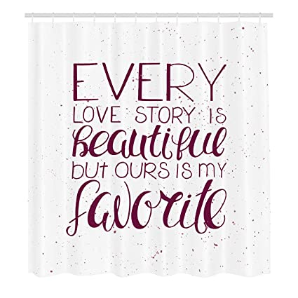 Amazoncom Romantic Shower Curtain Romance Quote Our Story Is My