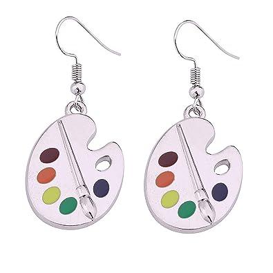89f4a50f2424e FUSTMW Artist Paint Brush Earrings Paint Palette Charm Earrings Colorful  Painter Jewelry Artist Gift Art Teacher Gifts