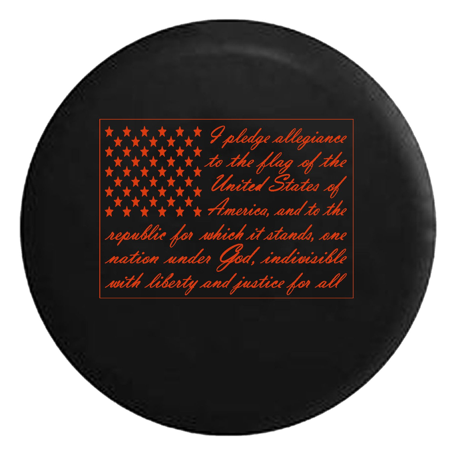 Pledge of Allegiance United States Patriotic Flag Spare Jeep Wrangler Camper SUV Tire Cover Gray Ink 32 in Silver Back Covers