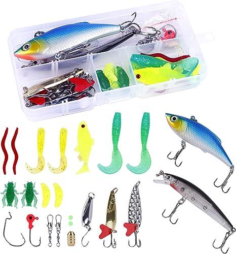 HONGXIN-SHOP Señuelos de Pesca 24 Piezas Kits de Señuelos ...