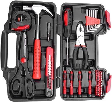 Conjunto caja de herramientas de uso doméstico, 38 piezas DIY herramienta de mano de limpieza con la caja incluidas Le tijeras, el martillo y de las pinzas: Amazon.es: Bricolaje y herramientas