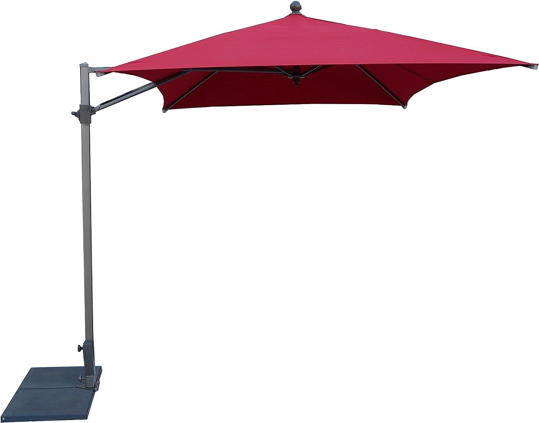 Parasol en poliéster, sin volante, lateral 260x260 rojo: Amazon.es: Jardín