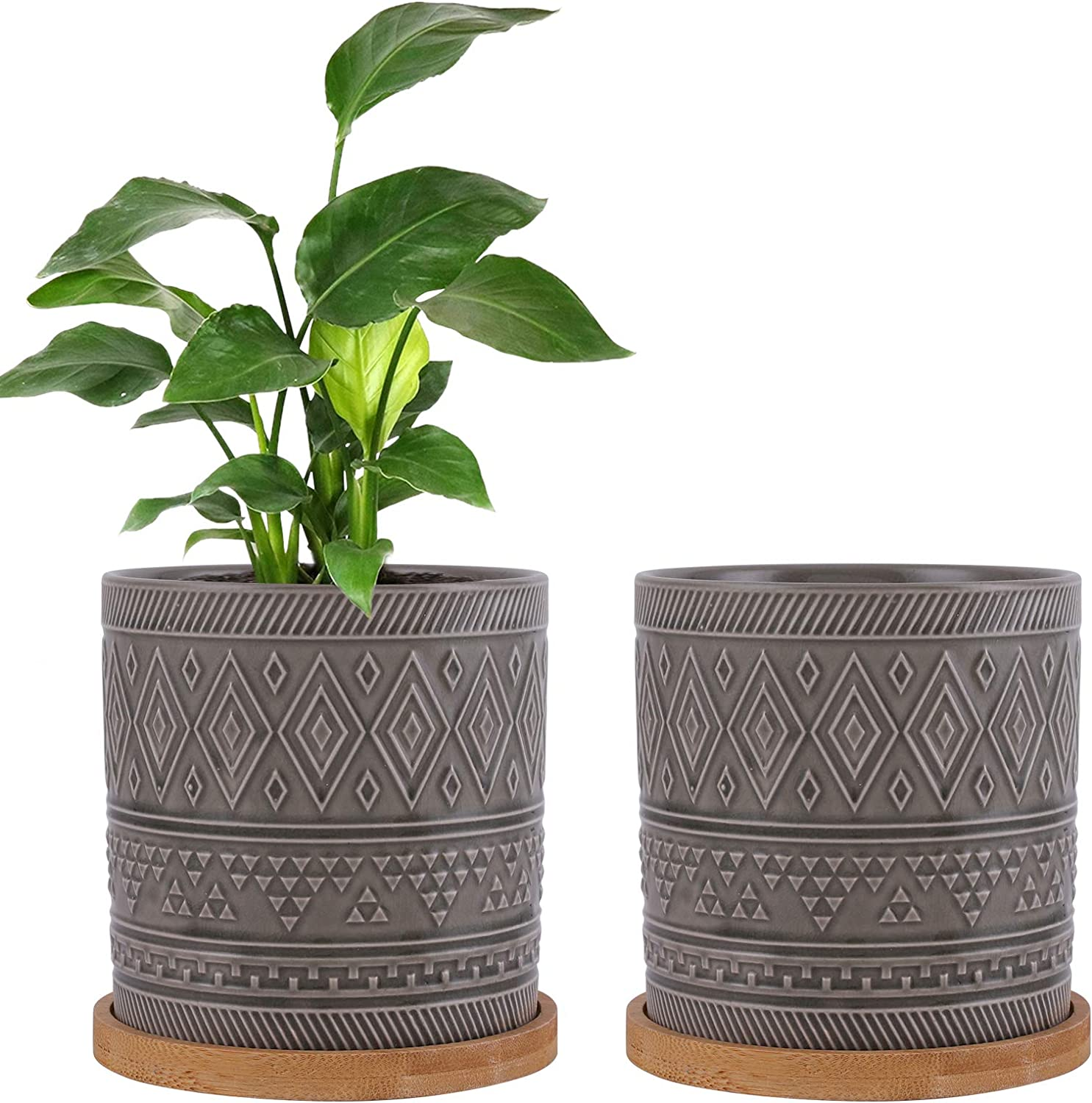 EPFamily 5 Inch Modern Ceramic Succulent Planters, Set of 2 Round Planter Pots with Drainage Hole, Outdoor Indoor Flower Pots with Bamboo Trays, Grey