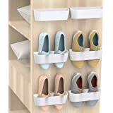 Yocice Wall Mounted Shoes Rack 6Pack with Sticky Hanging Strips, Plastic Shoes Holder Storage Organizer,Door Shoe Hangers (SM