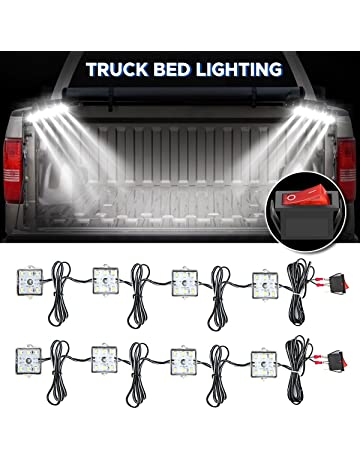 Audew Truck Bed Light Strips 2Pcs 4 Pods 2400 Lumens Total Unloading Cargo Light with On