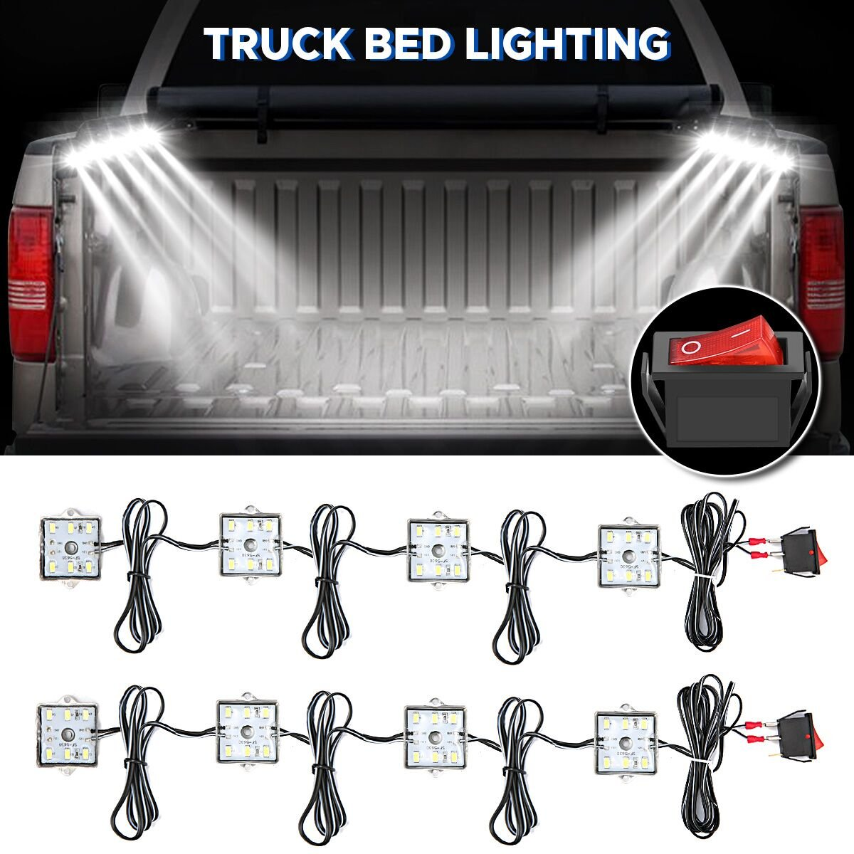 AUDEW 8Pcs Truck Bed Lights,Super Bright LED Lights with On/Off Switch,Fits for Truck,RV,SUV,Boats,Ice House,IP 67 Waterproof,White