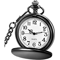 af9126d8a63 LYMFHCH Classic Smooth Vintage Quartz Pocket Watch, Arabic Numerals Scale  Mens Womens Watch with Chain