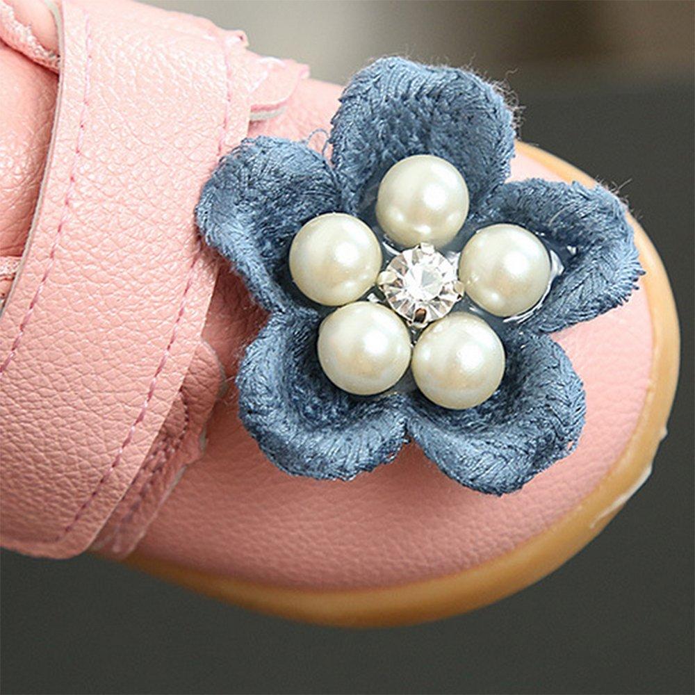 LINKEY Toddler Girls Pearls Flowers Princess Dress Shoes Mary Jane Flat Walking Shoes