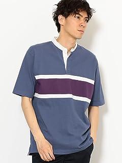 Short Sleeve Stripe Band Collar Rugby Shirt 3217-199-4485: Light Blue