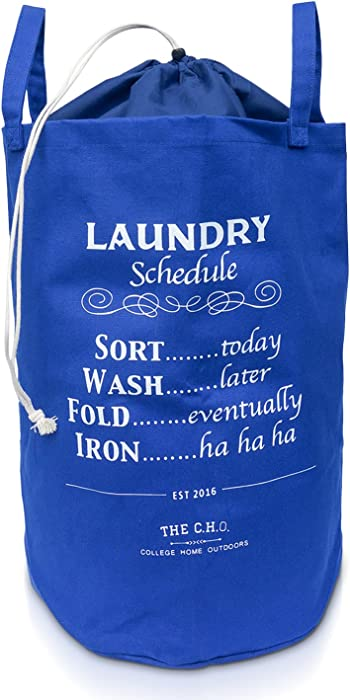 The C.H.O. Hilarious Laundry Hamper | Royal Blue Laundry Schedule | 55 Liters of Heavy Duty Cotton Canvas | 21 Inches Tall x 14 Inches Wide | Collapsible | Drawstring Enclosure for Extra Space